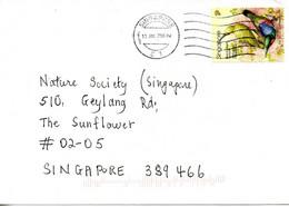 SINGAPOUR. N°1118 De 2002 Sur Enveloppe Ayant Circulé. Souimanga. - Pájaros Cantores (Passeri)