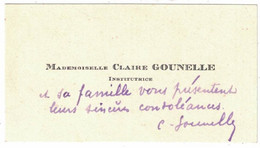 MADEMOISELLE CLAIRE GOUNELLE INSTITUTRICE - Visiting Cards