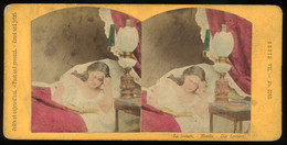 Tinted Genre Stereoview - 'La Lecture - Novels - Die Lecture' - Stereoscopi