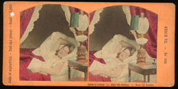 Tinted Genre Stereoview - 'Apres La Lecture - After The Reading - Nach Der Lecture' - Stereoscopi