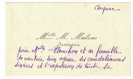 Melle M. MALZAC INSTITUTRICE COUPIAC A PLANCHON - Visiting Cards