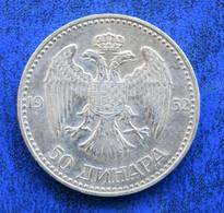 Yugoslavia 50 Dinara - Aleksandar I  VF  АЛЕКСАНДАР I. КРАЉ ЈУГОСЛАВИЈЕ ·КОВНИЦА·А·Д· - Yugoslavia
