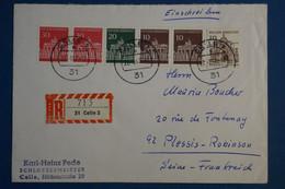 AD15 ALLEMAGNE  BELLE LETTRE RECOM.   1967   LA CELLE  POUR LE PLESSIS FRANCE  + PAIRES DE TP  + AFFR . PLAISANT - Briefe U. Dokumente