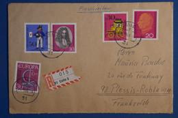 AD15 ALLEMAGNE  BELLE LETTRE RECOM.   1966   LA CELLE  POUR LE PLESSIS FRANCE  ++ AFFR . PLAISANT - Briefe U. Dokumente