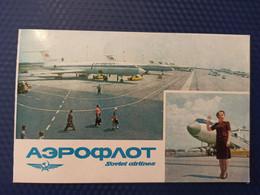 AEROFLOT. Ukraine. Kiev International Airport BORISPIL. Aeroport - TU 134 Plane - Avion - DOUBLE CARD USSR PC - 1970s - Aeródromos