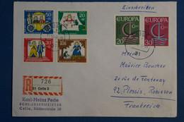 AD15 ALLEMAGNE  BELLE LETTRE RECOM.   1968   LA CELLE  POUR LE PLESSIS FRANCE  +EUROPA + AFFR . PLAISANT - Briefe U. Dokumente