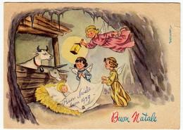 BUON NATALE - NATIVITA' CON ANGELI - Dis. DESIDERATI - 1959 - Vedi Retro - Santa Claus