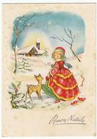 BUON NATALE - BAMBINA CON CAPRIOLO - 1958 - Vedi Retro - Santa Claus