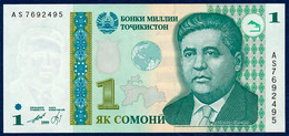 TAJIKISTAN TADJIKISTAN 1 SOMONI P-14A MIRZO TURSUNZODA MILLII BANK BUILDING DUSHANBE 1999 UNC - Tajikistan