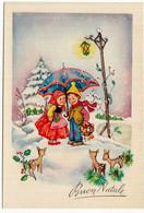 BUON NATALE - BAMBINI CON CAPRIOLI - 1956 - Vedi Retro - Santa Claus