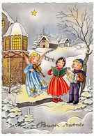 BUON NATALE - BAMBINI CON ANGELO - 1956 - Vedi Retro - Santa Claus