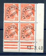 France Préo 83, Bloc De 4, Coin Daté 13.3.40 - Neuf** Cote 260€ - (F947) - 1940-1949