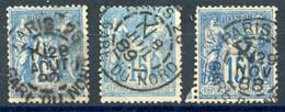 France N°90 - Lot De 3 - TAD De Levée - (F949) - 1876-1898 Sage (Tipo II)