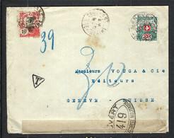 FRANCE Indochine 1917: LSC De Cochinchine Pour Genève Avec Le Y&T 45 Avec Censure Française, Taxée 20c à L'arrivée - Storia Postale
