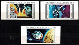 Tchad Space 1971 Peace And Science, Apollo 11 And John Kennedy. IMPERF - Tsjaad (1960-...)