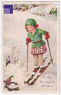 Petite CPA Illustrateur 1964 Suède Sweden PC Noël Christmas God Jul - Sports D'hiver Ski Fille Skieur Neige A59-58 - Otros