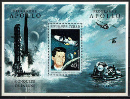 Tchad Space 1971 Peace And Science, Apollo 11, Kennedy, Launch Of Saturn 5 And Return In Sea. Souvenir Sheet - Tsjaad (1960-...)