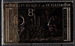 Tchad Space 1971 Apollo 11 And Kennedy On Gold Stamp. - Tsjaad (1960-...)
