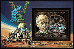 Tchad Space 1983  Viking On The Surface Of Mars And Astronomer Lovell On Fine Gold Paper. - Tsjaad (1960-...)