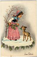 BUON NATALE - BAMBINA CON CAPRIOLO - 1957 - Formato Piccolo - Vedi Retro - Santa Claus