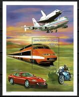 Tchad Space 1994 Means Of Transport Souvenir Sheet. TGV, Ferrari, Boeing 747 Carrying Shuttle. - Tsjaad (1960-...)
