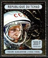 Tchad Space 2004 70th Anniversary Of The Birth Of Yuri Gagarin On Gold Stamp. - Tsjaad (1960-...)
