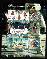 Tchad Space 2011 40th Anniversary Of The Apollo Program, Portraits Of Astronauts, NASA Photos And Logo Of Each Mission - Tsjaad (1960-...)