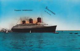 France Carte Postale Souvenir LE HAVRE Paquebot NORMANDIE  (Ecrite) - Unclassified