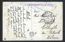 ITALIE 1917: CP Ill. En Franchise De Trieste (Italie Occupée) Pour La Moravie Avec Censure Autrichienne - Trento & Trieste