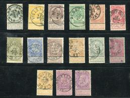 Belgique - Série N° Yvert 53/67 - 15 Valeurs Avec Oblitérations Centrale -  état Divers - Ref B 8 - 1893-1900 Fine Barbe
