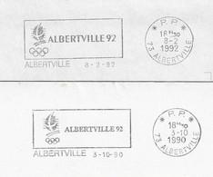 1990/1992 2 Variantes De La Flamme Postale D'Albertville, Annonce Des Jeux Olympiques D'Hiver En Port Payé - Invierno 1992: Albertville