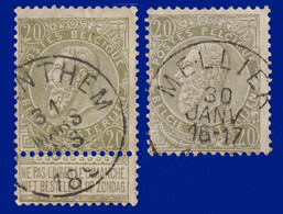 """2 N° 59 - Belles Oblitérations """"SAVENTHEM"""" + MELLIER - 1893-1900 Fine Barbe"""