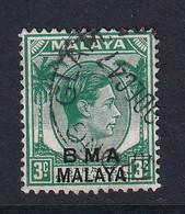 B.M.A. (Malaya): 1945/48   KGVI 'B.M.A.' OVPT   SG4b    3c  Blue-green  [chalk]    Used - Malaya (British Military Administration)