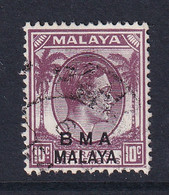 B.M.A. (Malaya): 1945/48   KGVI 'B.M.A.' OVPT   SG8b    10c  Slate-purple  Used - Malaya (British Military Administration)