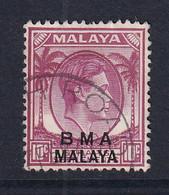 B.M.A. (Malaya): 1945/48   KGVI 'B.M.A.' OVPT   SG8c    10c  Magenta  Used - Malaya (British Military Administration)