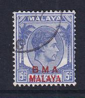 B.M.A. (Malaya): 1945/48   KGVI 'B.M.A.' OVPT   SG12a    15c  Bright Ultramarine  [Ordinary] Used - Malaya (British Military Administration)