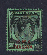 B.M.A. (Malaya): 1945/48   KGVI 'B.M.A.' OVPT   SG14    50c  Used - Malaya (British Military Administration)