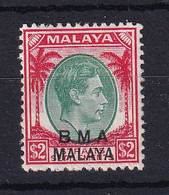 B.M.A. (Malaya): 1945/48   KGVI 'B.M.A.' OVPT   SG16    $2   MH - Malaya (British Military Administration)