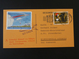 Carte Vignette Raketenflug Espace Space Rakete Rocket Mail Cuxhaven 1961 Ref 101701 - Briefe U. Dokumente