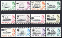 Tristan Da Cunha 1971 Decimal Currency Surcharges Ships Set Of 12, MNH, SG 137/48 - Tristan Da Cunha