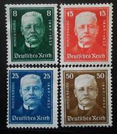 Allemagne Empire Deutsches Reich 1927, 80 E Anniversaire Naissance Président HINDENBURG Yvert 394 / 397 Neuve * MH TB - Unused Stamps