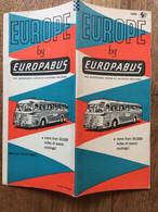 Europe By Europabus. Brochure De 28 Pages Repliée Au Format 23 X 10 Cm, 1965. Parfait état. - Dépliants Turistici