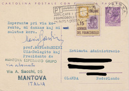 Italy Postal Stationery 25 Lire Woman - Circulated - With Mi 1134 4th Stamp Day With 10 C Of Sardinia And 30 L Italy - Interi Postali