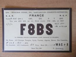 France - Carte QSL Radio F8BS - Saint-Aigulin (Charente-Inférieure) - 1932 - Radio Amatoriale