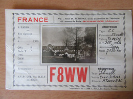 France - Carte QSL Radio F8WW - Soissons - Vers 1930 - Photo Collée Au Centre - Radio Amatoriale