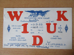 Etats-Unis / United States - Carte QSL Radio W1DUK - Rochester, New Hampshire - 1933 - Radio Amatoriale