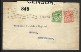 GRANDE BRETAGNE 1915: LSC De Londres Pour Genève  Avec Les Y&T 139,142 Censure Britannique - Covers & Documents