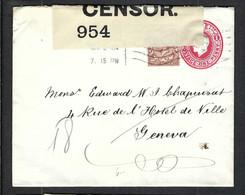 GRANDE BRETAGNE 1915: Entier De 1p De Londres Pour Genève  Avec Le Y&T 141 En Complément D'affr., Censure Britannique - Covers & Documents