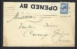 GRANDE BRETAGNE 1915: LSC De Londres Pour Genève Avec Le Y&T 143, Censure Britannique - Covers & Documents