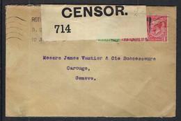 GRANDE BRETAGNE 1915: LSC De Londres Pour Genève Avec Les Y&T 139,140, Censure Britannique - Covers & Documents